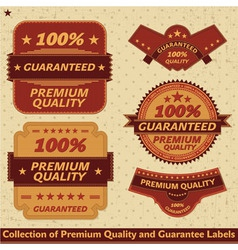 Premium quality and guarantee label collection vector image
