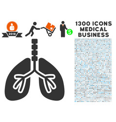 respiratory system icon with 1300 medical business vector image vector image