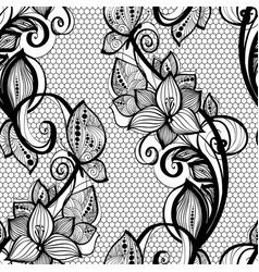 seamless pattern black lace background old vintage vector image vector image
