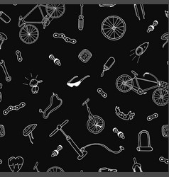 seamless pattern in doodle stylebicycle vector image