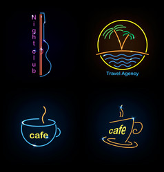 Set neon sign theme summer bright signboard vector