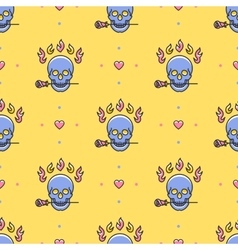 Skull seamless pattern Icons skull rose vector image