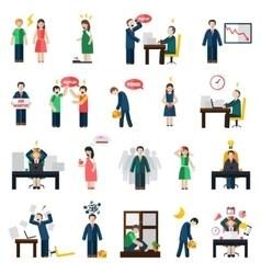 Stress depression mental health icons set vector image vector image