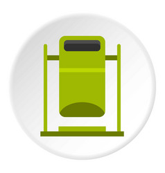 Swinging trashcan icon circle vector