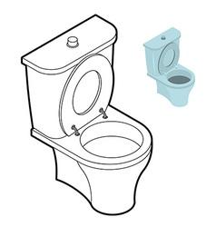 Toilet wc coloring book bathroom accessories in vector