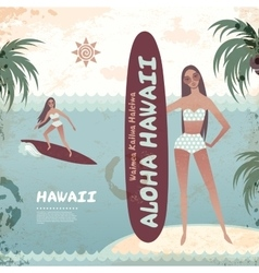 Vintage banner of Hawaiian island with a surf girl vector image vector image