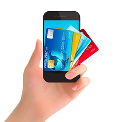 Credit cards in a phone Internet banking concept vector image vector image