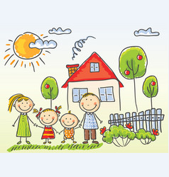 family near their house vector image vector image
