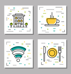 four hotel service linear icons vector image vector image