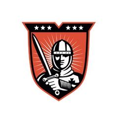 Knight Crusader With Sword Shield vector image vector image