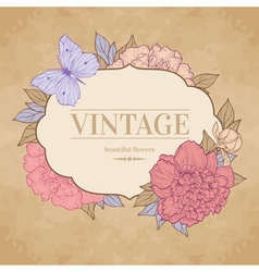 Vintage background with peony and butterfly vector