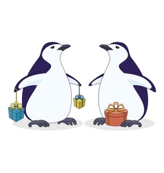 Antarctic penguins with gift boxes vector image