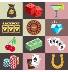 Flat gambling casino money win jackpot luck vector image vector image