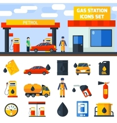 Gas petrol station icons collection banner vector image