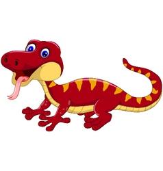 red gecko cartoon posing vector image