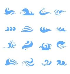 set of wave symbol on isolated white background vector image