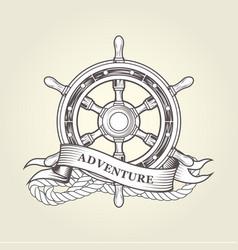 vintage steering wheel - nautical handwheel emblem vector image vector image