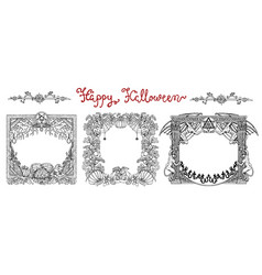 hand drawn set with halloween frames vector image vector image