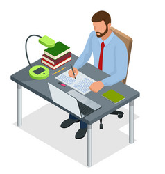 isometric young people and student concept a mem vector image