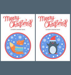 merry christmas and winter fox penguin icon vector image vector image