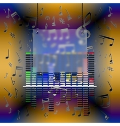 music design with equalizer and frame vector image