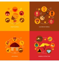 Africa icons flat composition vector image