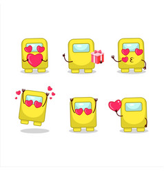 Among us yellow cartoon character with love cute vector