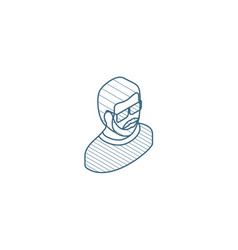 avatar man in sun glasses isometric icon 3d line vector image