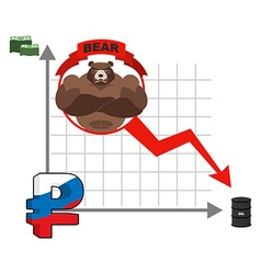 Bear and graph of fall of russian ruble fall of vector