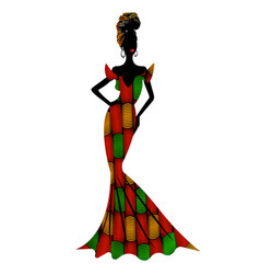 beautiful african woman in typical afro clothing vector image