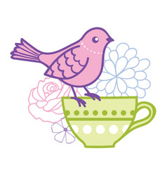 Bird on a teacup vector
