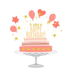 birthday greeting card with cake and balloons vector image