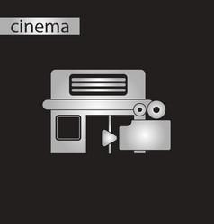 black and white style icon building cinema camera vector image