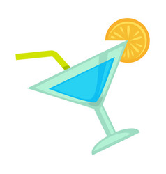 Blue colored cocktail with orange vector