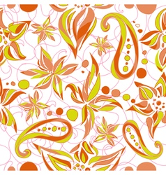 Bright green brown simple pattern with swirls and vector