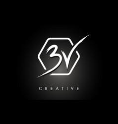 Bv b v brushed letter logo design with creative vector