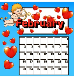 calendar for February Valentines day vector image