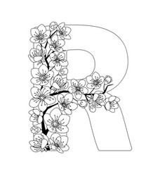 Capital letter r patterned with contour drawn vector