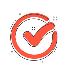 cartoon check mark icon in comic style approved vector image