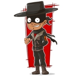 Cartoon cool hero in mask and hat vector image