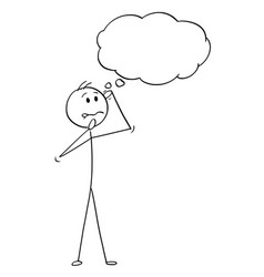 Cartoon man or businessman thinking hard vector