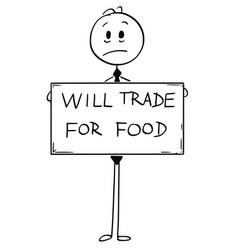 Cartoon of sad hungry unemployed businessman vector