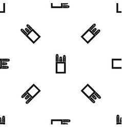 Chalks in carton box pattern seamless black vector