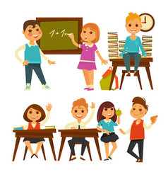 Children in school learning lessons flat vector