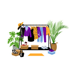 Clothes hanger cartoon store wardrobe dress vector