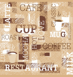 Coffee themed seamless pattern words cups of vector