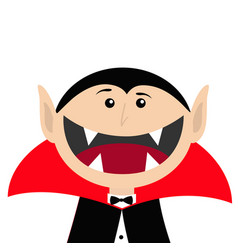 Count dracula head face wearing black and red vector