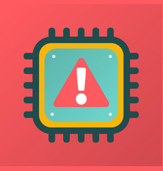 cpu icon with alert sign cyber security vector image