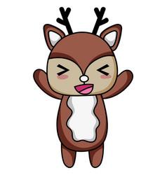 Cute and cheerful deer wild animal vector