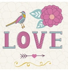 Cute Valentines day card with word love flowers vector